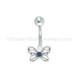 Butterfly with Gem Center Navel Ring