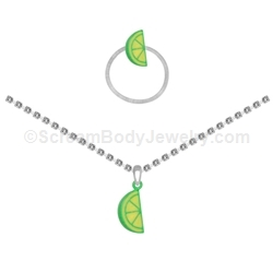 Lime Slice Anklet and Toe Ring Set