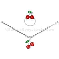 Cherry Anklet and Toe Ring Set