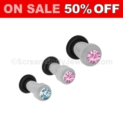 316L Surgical Steel Plug with Gemset CZ
