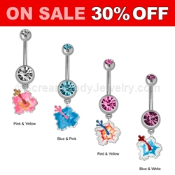 Crystal with Hibiscus Navel Dangle