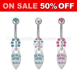 Beachbabe Zipper Pull Navel Dangle