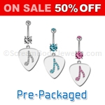 Music Note On Pick Navel Dangle