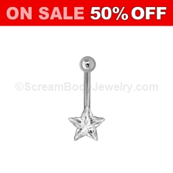 Gem Top Crystal Star Navel Dangle