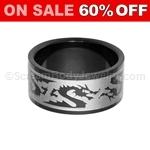 Blackline PVD Steel Ring with Dragon
