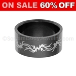 Blackline PVD Steel Ring with Tribal Pattern