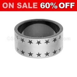 Blackline PVD Steel Ring with Star Pattern