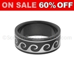 Blackline PVD Steel Ring with Wave Pattern
