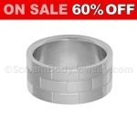 Surgical Steel Ring with Block Pattern