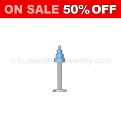 316L Surgical Steel Labret with Ion Plated Temple Spike (Light Blue)