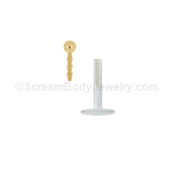 14kt Gold Snap-In Bioplast Labret with 2mm Ball