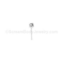 Sterling Silver Nose Stud with Genuine Diamond