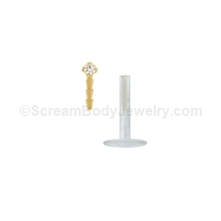 14kt Gold Snap-In Bioplast Labret with Prong Set Crystal