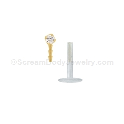 14kt Gold Snap-In Bioplast Labret with 2mm Prong Set Crystal