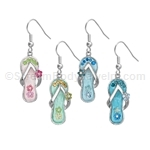 Crystal Flower Flip Flop Earrings