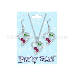 Crystal Cherries Necklace and Navel Ring Set