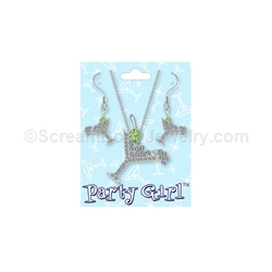 Crystal Dirty Martini Necklace and Navel Ring Set