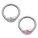 316L Circular Nipple Ring with Crystal (14ga 1/2in)