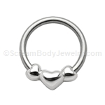 316L Circular Nipple Ring with Hearts (14ga 1/2in)