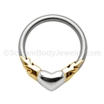 316L Circular Nipple Ring with Flaming Heart (14ga 1/2in)