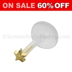 Gold Plated Star Bioplast Monroe Labret (16 Gauge)