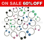 316L Surgical Steel Circular Barbell with Anodized Balls