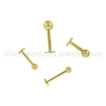 Externally Threaded 14kt Gold Plated Labret