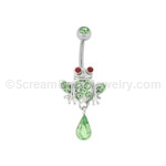 Pave Crystal Froggy with Stone Top Ball (Nickel and Lead Free)