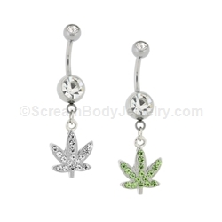 Crystal Pot Leaf Dangle with Stone Top Ball (Nickel and Lead Free)