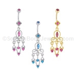 Filigree Crystal Dangle with Stone Top Ball (Nickel and Lead Free)