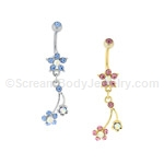 Aqua AB Crystal Flower with Stone Top Ball (Nickel and Lead Free)