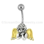 Sterling Siver and Gold Plated Cherub Navel Bar 14G 7/16