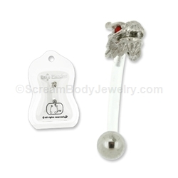 PTFE Dragon with Red Crystal Eyes Navel Bar 14G 7/16