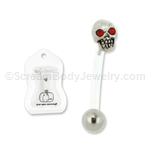 PTFE Skull with Red Crystal Eyes Navel Bar 14G 7/16
