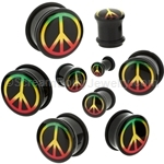 Acrylic Rasta Peace Sign Single Flared Plugs (1 Pair)