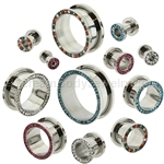 Steel Multi-Gem Rim Screw Fit Tunnels (1 Pair)
