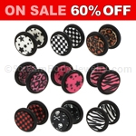 Acrylic Printed Faux Plugs with O-Ring (1 Pair)