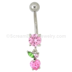 Small Pink Heart Navel Dangle