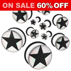 Acrylic Black Star on Silver Foil Single Flared Plugs (1 Pair)