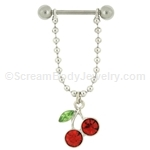 316L Surgical Steel Crystal Cherries Nipple Bar