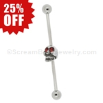 316L Surgical Steel Industrial Barbell with Skull with Gemmed Eyes