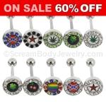 316L Surgical Steel Multi-Crystal Rimmed Logo Barbell