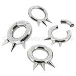 316L Surgical Steel Segment Ring with 3 Internally Threaded Spikes