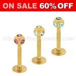 Gold Plated Multi 5-Gem Labret