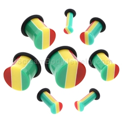 Acrylic Rasta Single Flared Plugs with O-Ring (1 Pair)
