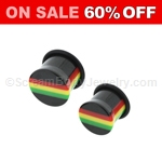 Acrylic Jamaican Rasta Single Flared Pugs with O-Ring (1 Pair)
