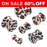 Acrylic Orange and Black Leopard Print Double Flared Saddle Plugs (1 Pair)