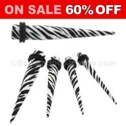 Acrylic White Tiger Print Tapers (1 Pair)