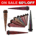 Acrylic Leopard Animal Print Tapers (1 Pair)