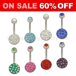316L Surgical Steel Navel Ring with Austrian Crystal Pave Ferido Dome and Gemset Top